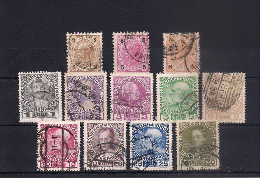 Austria 1890-1930 mix LOT 3 (12 used stamps)