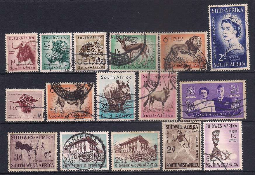 South Africa stamps lot, 16 stamps