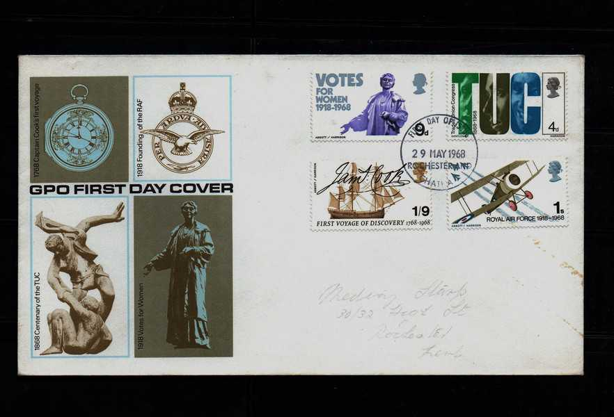 Great Britain FDC, 1968 Anniversaries, postally used FDC