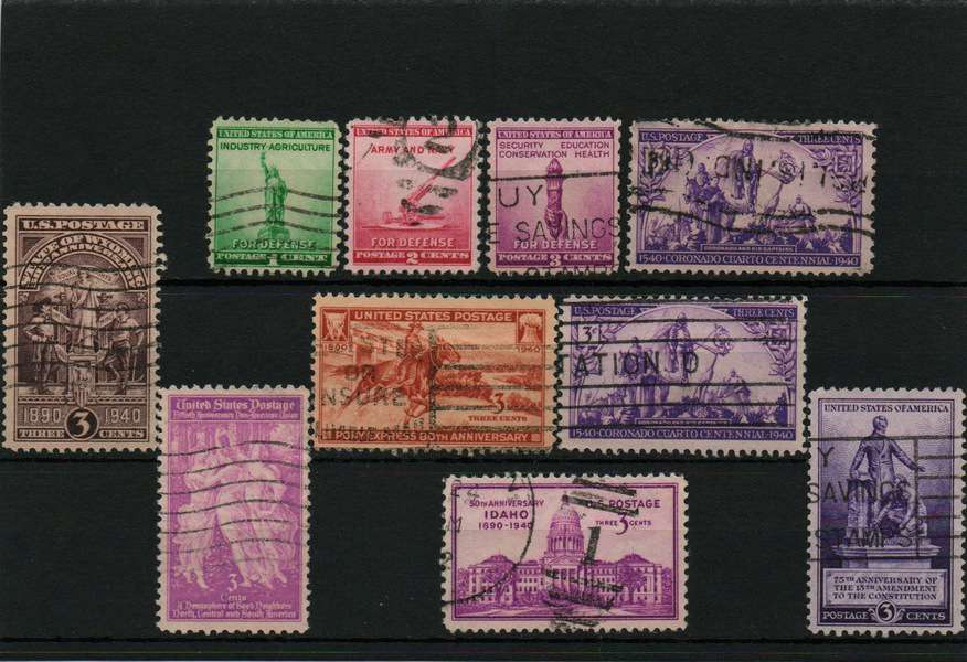 USA 1940 used stamps lot, 10 stamps
