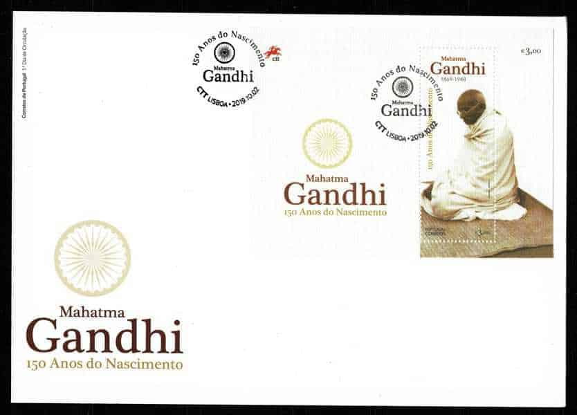 Portugal Gandhi 150 years MS FDC