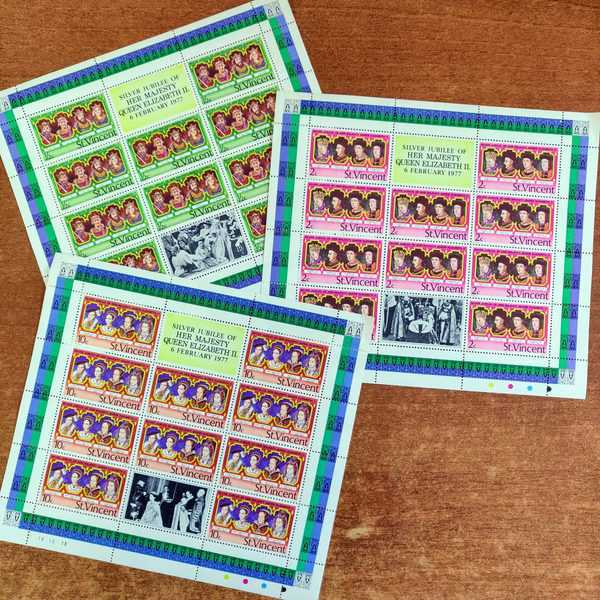 St. Vincent 1977 Silver Jubilee of QEII 3 souvenir sheets