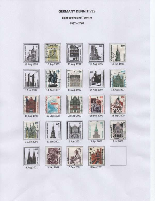 Germany Definitive stamps Sightseeing and Tourism 1987-2004