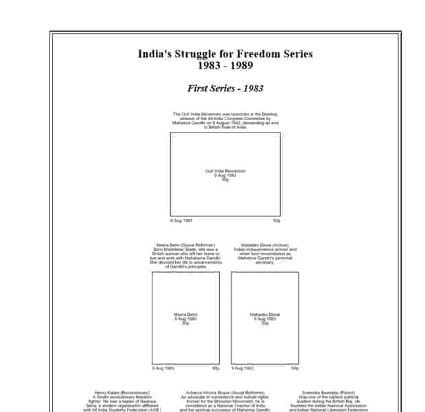 India Struggle for Freedom Series 1983-89 Album Pages