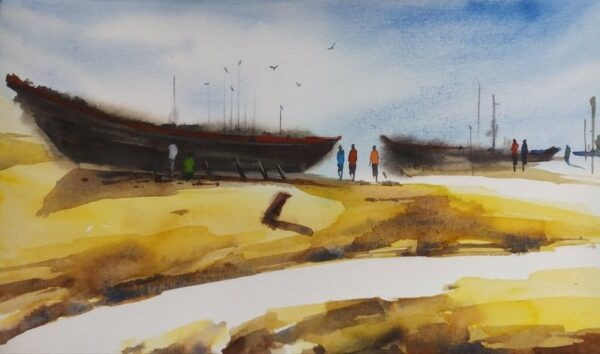 By the Sea water colour painting by Dipankar Ghosh
