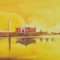 Golden Taj acrylic on canvas painting by Dipankar Ghosh