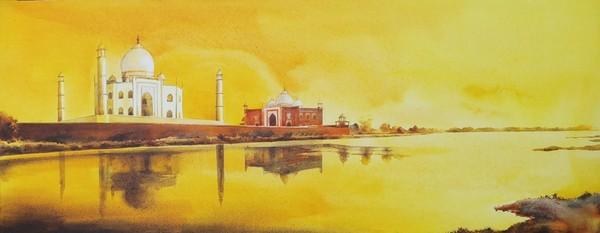 Golden Taj acrylic on canvas painting by Dipankar Ghosh