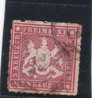 GERMANY Wurttemberg 3Kr. purple redUSED CV 2250.00 USD