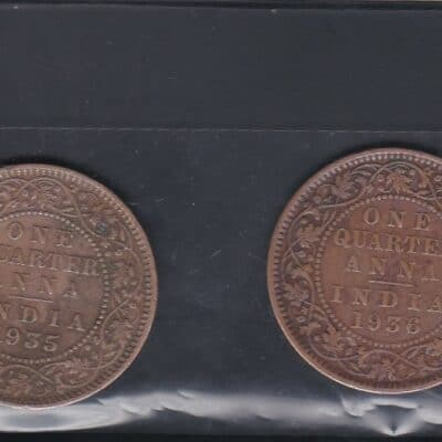 2 COIN old Rare One Quarter Anna Year 1935-1936 George V King Emperor Coin