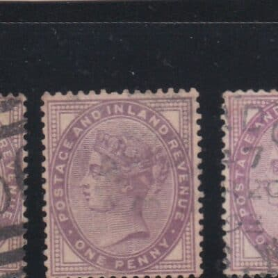 """GREAT BRITAIN 1881 QV – Inscription """"POSTAGE AND INLAND REVENUE""""6 STAMPS USED"""
