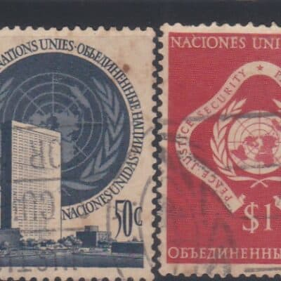 UN New York 19 STAMPS 1951 TO 1955 13 STAMPS USED 6 STAMPS MINT