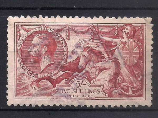 Great Britain Sea Horse 5 shilling stamp