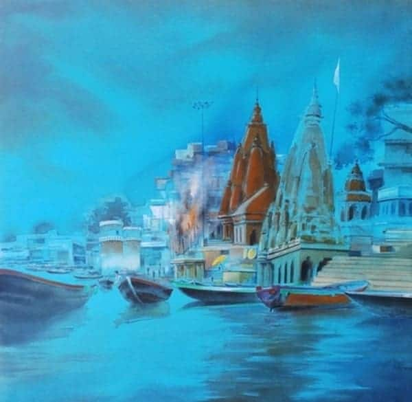 Varanasi Blues painting by Dipankar Ghosh