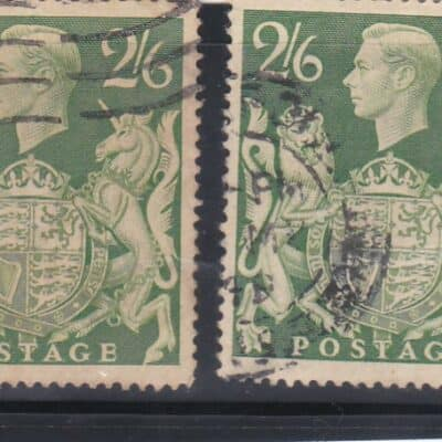GREAT BRITAN 5 SYTAMPS 1941 -19485 STAMPS 2´6Sh´P greenish olive USED SEE PHOTO