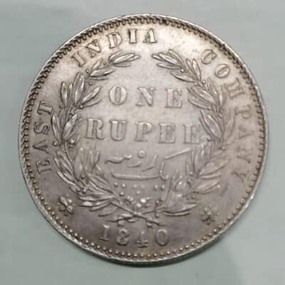 Queen Victoria One Rupee silver India coin-1840