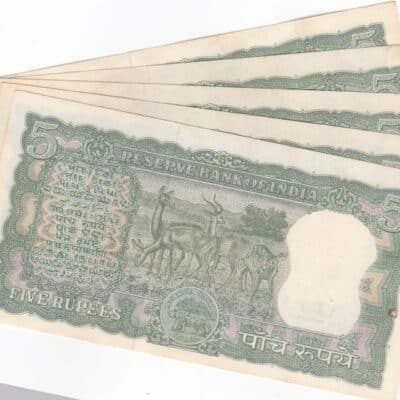 5 Rupees Note, L.K.Jha- Diamond Issue, 4 Deer, NINTH ISSUE UNC NEW CONDITION