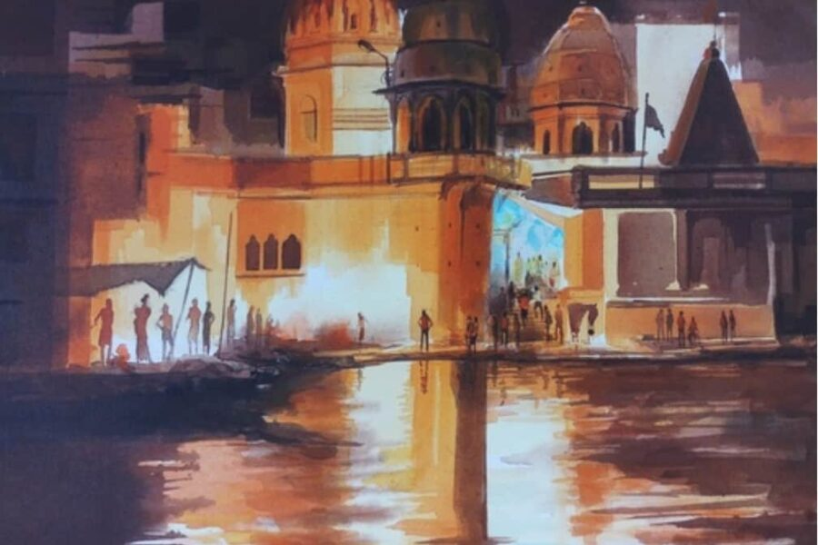 Night at Varanasi Ghat 5, 18x24, Acrylic on canvas