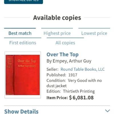 1917 – Rare First Print -OVER THE TOP World War 1 Book