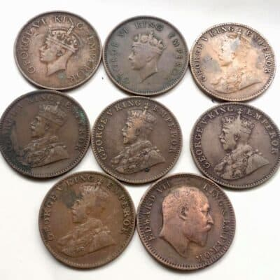 1/4 Anna, 8 diff British India coins