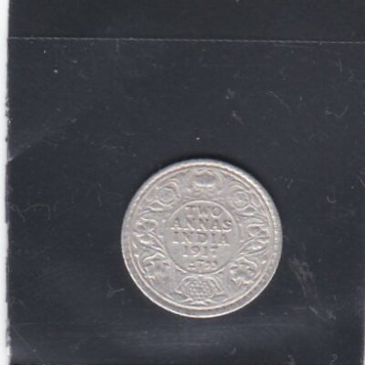2 Annas King George V 1917 Silver Coin British India Calcutta Mint – Rare