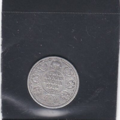 2 Annas King George V 1916 Silver Coin British India Calcutta Mint – Rare