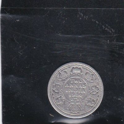 2 Annas King George V 1914 Silver Coin British India Calcutta Mint – Rare