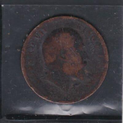 2 Pcs Kind Edward VII One Quarter Anna 1907-1910 used