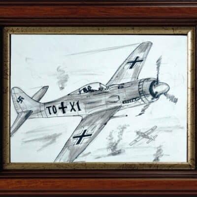 AVIATION ART- Luftwaffe FW 190 1944 – Pencil Sketch