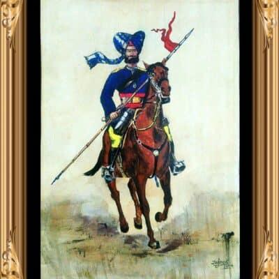 1st Madras Lancers – Vintage Military Uniform Commemorative Lithograph