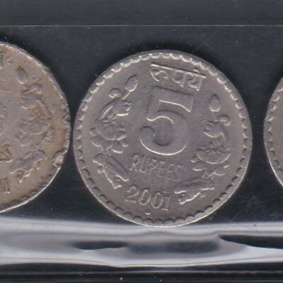 5 Coins Old 5 Rs 2001 Good condition