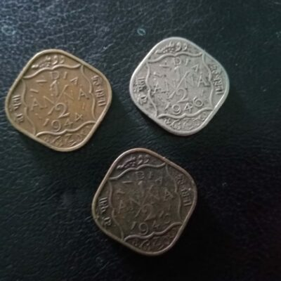 King George VI tree type 1/2 anna 3 coins