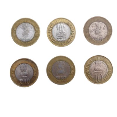 India 10 Rupee Commemorative Coins lot of 6 coins