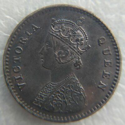 Victoria Queen 1862 2 Annas silver UNC