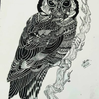 Fountain pen art Intricate Owl