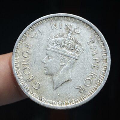 KGVI silver rupee 1942 Bombay mint