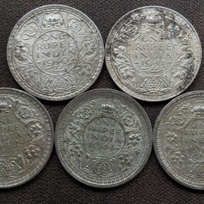 King George VI Silver Rupee (Half Silver) of year 1940,41,42,44,45