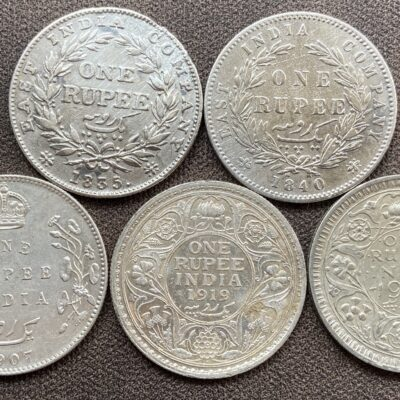 British India Silver Rupee set of 5 different rulers William IIII, Queen Victoria, King Edward, King George V & King George VI