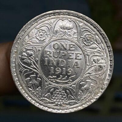 Gem UNC 1919B silver rupee