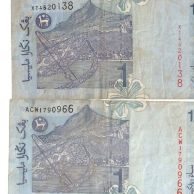 2 PCS MALAYSIA 1 RINGGIT AUNC OLD NOTE NOTE