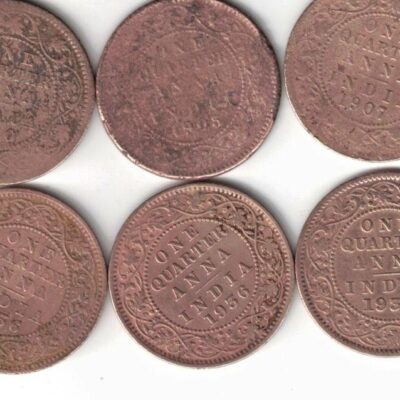 3 COIN KING EDWARD ONE 1/4 ANNA 1905-19071-910 AND 3 COIN KING GEORGE V 1935-1936-AND 1936 SEE PHOTO