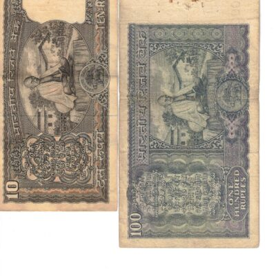 4 PCS BACK GANDHI SIGN MIX GOVERNER 2 RS 5RS 10 RS UNC 100 RS USED XF