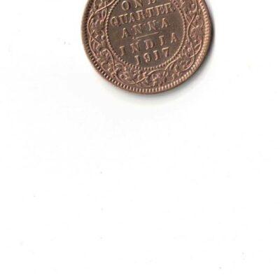 GEORGE V 1917 ONE QUARTER ANNA USED