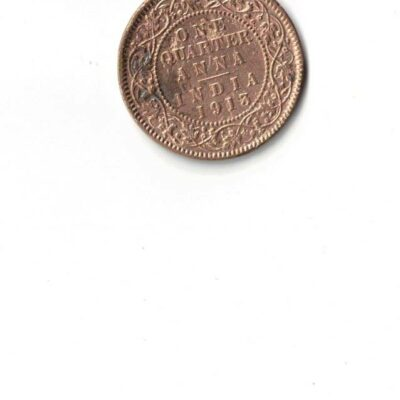 GEORGE V 1913 ONE QUARTER ANNA USED