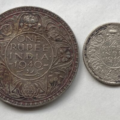1940 King George VI One rupee and 1/4 rupee pair
