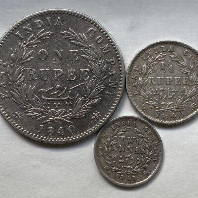 Victoria Queen Divided Legend rupee Quarter Rupee and 2 Anna Calcutta mint