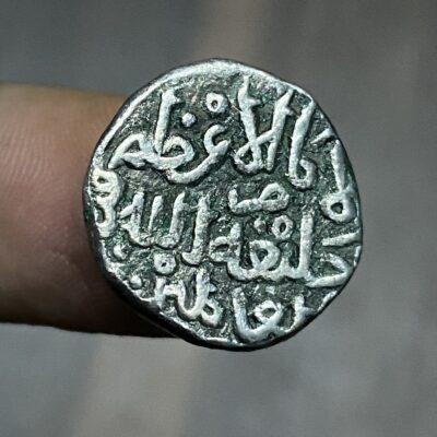 Mohammed Bin Tuglaq RARE Billon Silver Tanka struck INO Abbasid Caliph AL Mustaqfi Billah