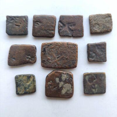 Pre-Maurya/Maurya dynasty copper punch mark coins, lot of 10 coins