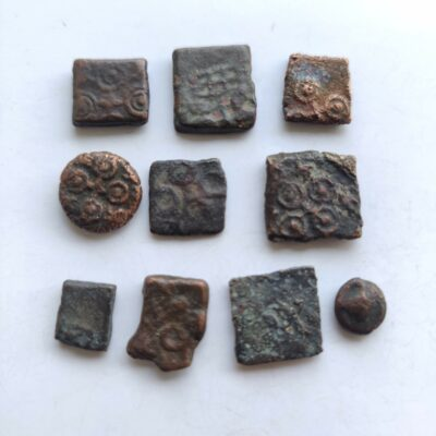 Ancient india coins, lot of 10 good grade copper coins from varied dynasties