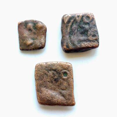 Saurashtra Janpad Swastika motif coins lot, 3 coins good grade