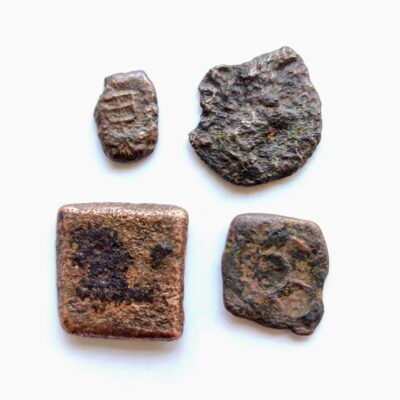 Ujjaini coins lot, 4 coins with Ujjaini symbol clearly visible
